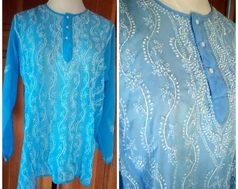 Vintage Hippie Blouse Semi Sheer Chiffon Sequins Embroidery Boho India X Large 46 Bust