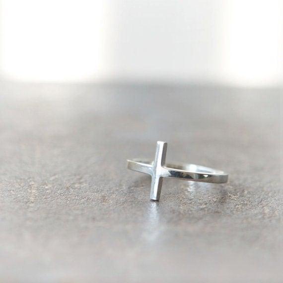 Sideways Cross Ring in sterling silver