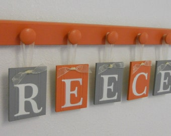 Orange Gray Baby Boy Nursery Wall Letters Sign Set Includes Wooden Pegs in Orange and Grey. Personalized Hanging Ribbon Letters