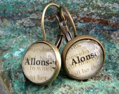 Doctor Who Earrings ...ALLONS-Y  ALONSO ... TImE MACHINE AgEd  -  10th Doctor - Timey Wimey