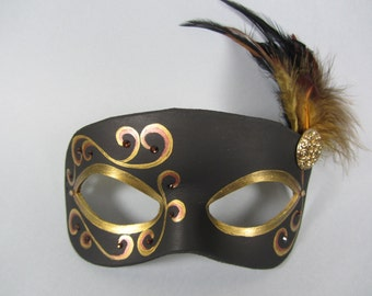 Black and Gold Leather Masquerade Mask