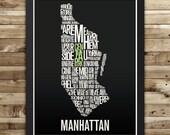 MANHATTAN New York Neighborhood Typography City Map Print