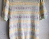 CLEARANCE ITEM - 80s PASTEL Short Sleeve Knit Sweater