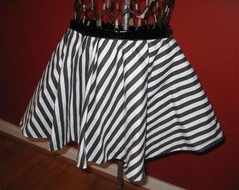 Reversible black and white stripe/pvc vinyl circle skirt