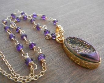 Purple Druzy Amethyst Necklace, Bezel Druzy Necklace, Purple Amethyst Necklace, February Birthstone, Purple Pendant, Rosary Necklace