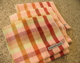 Peach, Orange and Green Handwoven Cotton Dish Towel