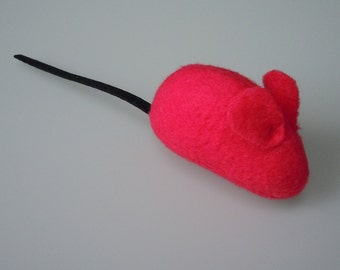 Catnip Mouse Cat Toy Red Fleece