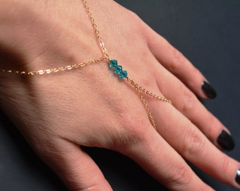 14K Gold filled finger bracelet, hand ring chain harness, slave bracelet, delicate jewelry Emerald Ocean Swarovski crystals, body jewelry