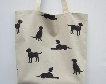Labrador Tote Bag, Fabric Tote Bag, Black Labrador Tote, Dog fabric Tote Bag, dog lovers gift, Black Labrador Bag, dog print shopping bag