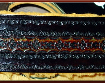 INDIA-LA PAZ 2 (with Border) Design • A Beautifully Hand Tooled, Hand Crafted Leather Guitar Strap.