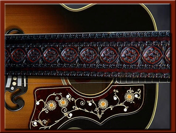 HEAVY LA PAZ  Design • A Beautifully Hand Tooled, Hand Crafted Leather Guitar Strap