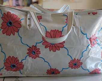 Vintage Mod/Retro White Vinyl All Purpose Insulated Carrying Bag w/Flowers