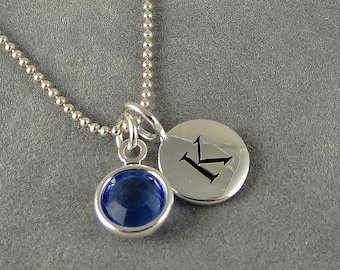 Custom Initial and Birthstone Necklace - Silver Personalized Necklace - Mom Necklace - Daughter Necklace - Gift for Friend - Bridal Jewelry