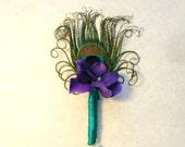 Peacock Wedding or Special Event Boutonniere With Curled Peacock Eye Feather, Purple Hydrangea and Teal Stem