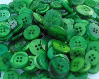 Green Buttons, 100 Bulk Assorted Round Multi Size Crafting Sewing Buttons