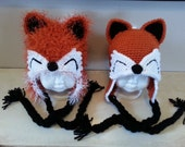 Crochet Fox Ear Flap Hat-Fox Beanie Hat-Baby Photo Prop-Toddler Fur Hat-Adult Costume-6 Months to Adult