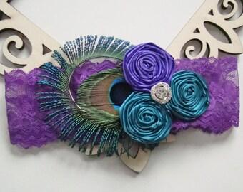 Sexy Glam Crystal Posh Teal Blue & Purple Rosette Trio Peacock Bridal Purple Lace Wedding Garter