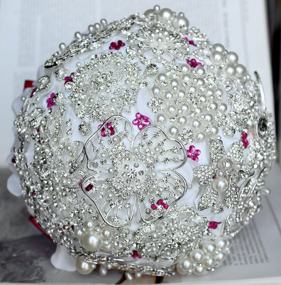 Vintage Bridal Brooch Bouquet Pearl Rhinestone Crystal Silver Fuchsia Hot Pink White One Day RUSH ORDER Available BB004LX