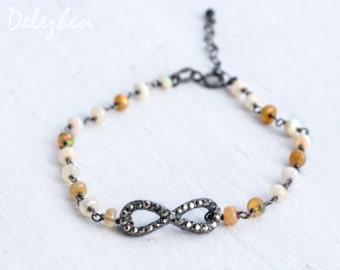 Infinity Bracelet - Opal Bracelet - Swarovski Infinity bracelet - Wire wrapped bracelet - October Birthstone Bracelet