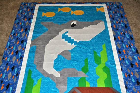 Easy Quilt Patterns For Twin Beds : Shark Quilt Pattern for Twin Bed