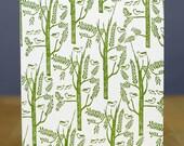 letterpress card SET - Birds in trees