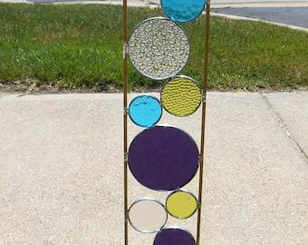 Stained glass garden art stake purple chartreuse aqua blue modern outdoor garden art