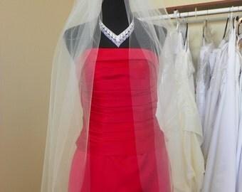 Fingertip two tier wedding bridal veil, white, ivory, diamond white
