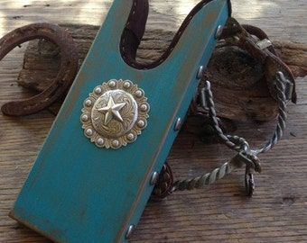 Large Rustic Turquoise Boot Jack with Concho