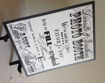 Photo Booth Wedding Sign in Black & White - Photo Favor Sign - Photo Scrapbook Sign - Wedding Birthday Party Sign