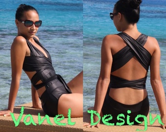 Black One Piece Swimsuit Convertible One-Piece Bathing Suit Sexy Infinity One-PIece swimsuit Sexy Swimwear