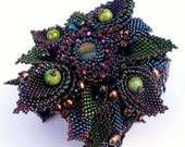 "Beaded,bead embroiery,beadwork bracelet ""Sorija: with labradorite,keshi &freshwater pearls,agates,Toho and Preciosa beads"