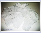 Boys White baby Layette, crocheted, Sweater / Pants / Shoe booties / hat , 0-3 m. customized colors