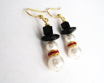 Snowman Earrings, Pearl Snowmen Earrings, Red and Gold Snowman Earrings, Holiday Jewelry, Stocking Stuffer Gift for Her