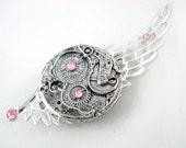 Steampunk Pegasus Light Pink and Silver Crystal Hairclip