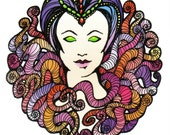 Queen of Tentacles - The Tentacle Collection - Original Art postcards