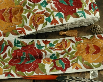 """Autumn Bouquet: LAST PIECE Floral, Red, Brown, Green, Silk Trim, Ribbon, Sari Border, India 3 1/2""""W /Festive Floral Holiday, Sewing Supply"""