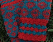 Finely Hand Knitted Estonian Mittens in Red and Blue