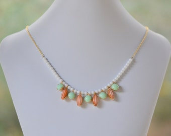 SALE Bib Style Statement Necklace in Vintage Orange and Mint Green Stones and White Beads in Gold. Jewelry Fashion Statment Necklace.