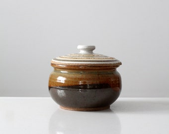 studio pottery bowl, vintage ceramic jar with lid