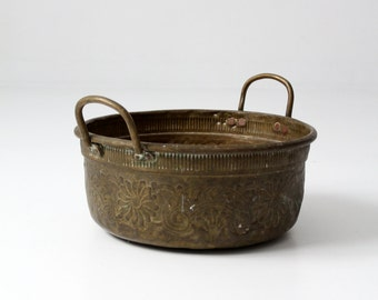 antique brass bowl with handles, large decorative basin