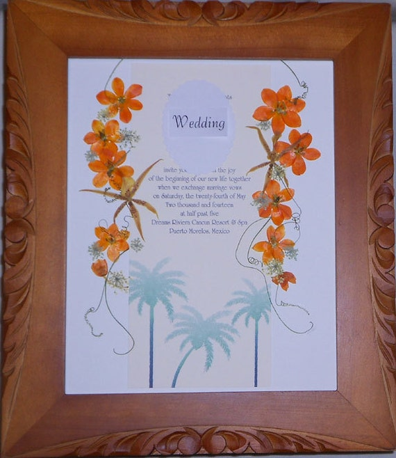 wedding invitation pressed flower framed wedding invitation keepsake anniversary gift. Black Bedroom Furniture Sets. Home Design Ideas