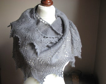 Grey Lace - hand knitted shawl