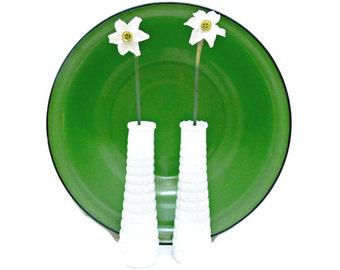 White Milk Glass Vases - Set of 2 Vintage Quilted - E. O. Brody - Wedding Farmhouse Decor
