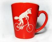 Fox Mug, riding bike, 12oz, etched,  Dishwasher and microwave safe