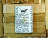 Vintage Paper Literary DACHSHUND Dog Switch Plate Artisan Made Black White Lighting Home Decoration Art Book