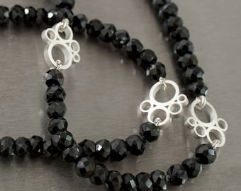 Sterling silver and black spinel necklace
