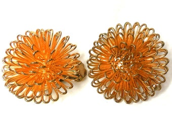 60's Gold Loopy Earrings Fun & Funky Mod Abstract ATOMIC Modern Funky Hip Hedgehogs!