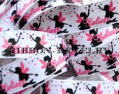 """Believe in Fairies sparkly hot pink, black & white on 7/8""""  grosgrain ribbon- Gorgeous in person-"""