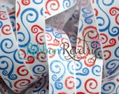 "NEW Red & blue glitter swirls on white 7/8"" grosgrain ribbon- 4th of july red white blue patriotic ribbon"