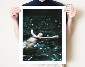 Dark swimming art, ethereal woman in water photography print. Female figure swimming photo artwork, abstract home decor fine art photograph
